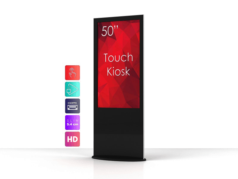 black kiosk touch screen