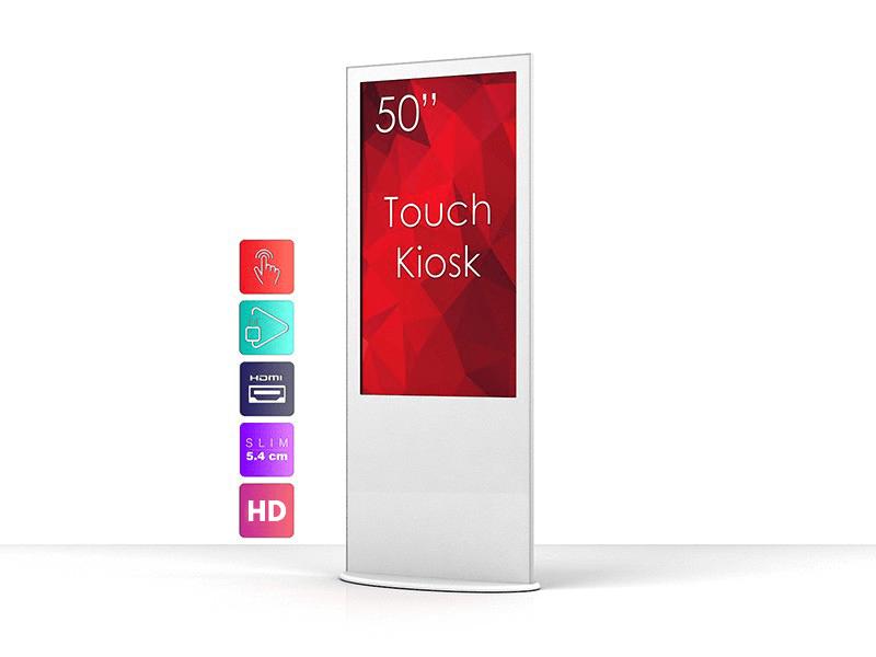 white kiosk touchscreen